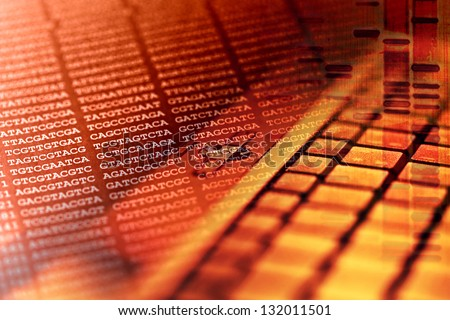 DNA encoding with computer keyboard. Science concept. - stock photo
