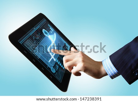 DNA helix abstract background on the tablet screen. Illustration - stock photo
