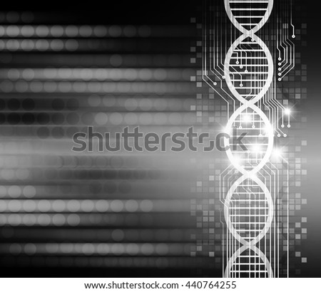 DNA helix DNA molecule, digital data background,black abstract light hi tech pixel internet technology, Cyber security concept, Cyber data digital computer.