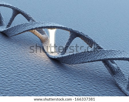 DNA helix molecules. Science concept. 3D Illustration - stock photo