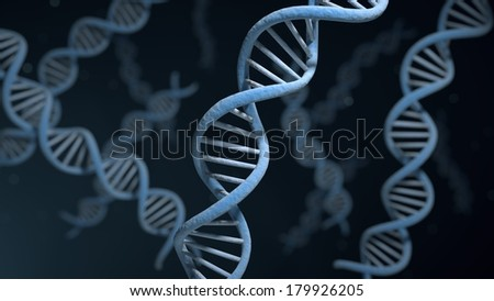 DNA helix strand structures for genetic and medical research - stock photo