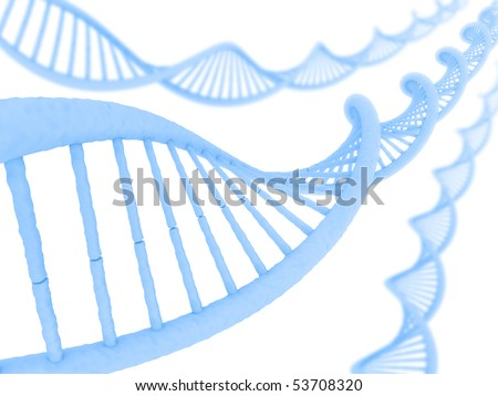 DNA in a perspective view on a clean and clear background. - stock photo