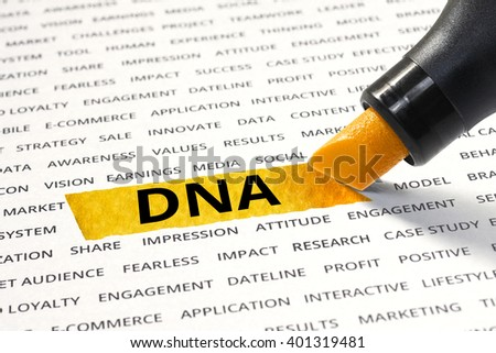 DNA message highlighted with marker on paper of other related words. For direction of business strategy success concept - stock photo