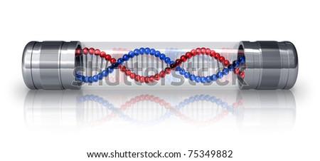 DNA molecule in hermetic capsule - stock photo
