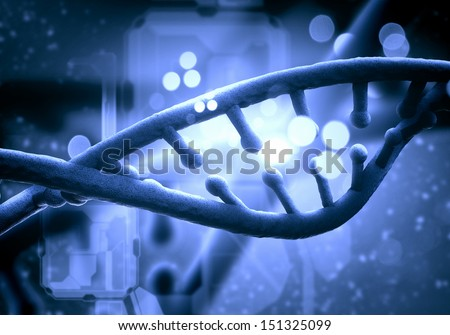 DNA molecule is located in front of a colored background. abstract collage - stock photo