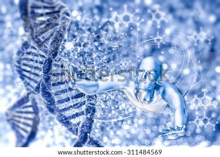 DNA molecules and man - stock photo