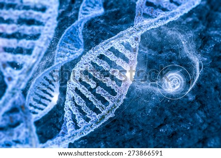 DNA molecules on the beautiful backdrop - stock photo