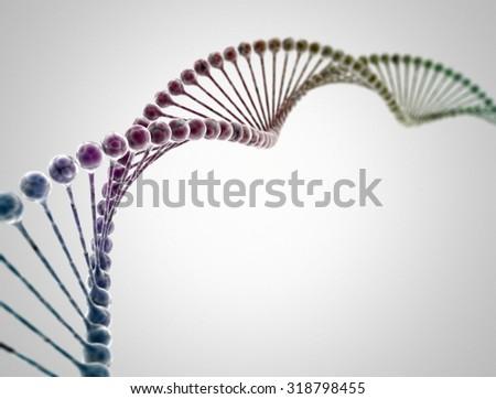 DNA multi color 3d model - stock photo