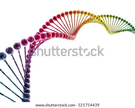 DNA multi color isolated on white background  - stock photo