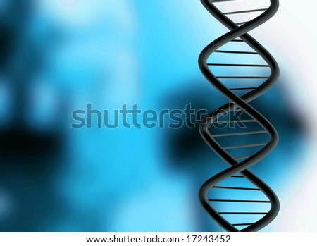 DNA over a medical illustration in blue and black - stock photo