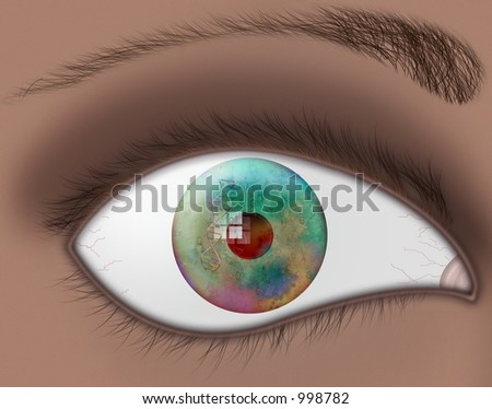 DNA reflected in multicolored eye - stock photo