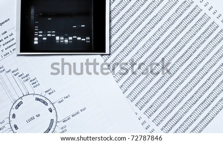 DNA sequence, electrophoresis photo and a restriction map - stock photo