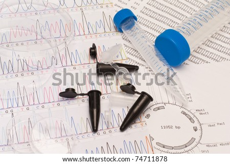 DNA sequence, electrophoresis photo, restriction map, Petri dishes and tubes - stock photo