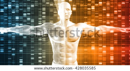 DNA Sequence with Genetics Data of a Human Male 3d Illustration Render - stock photo