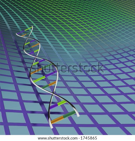 DNA strand with background - stock photo