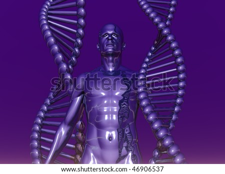 DNA strands and human body on violet background - 3d illustration