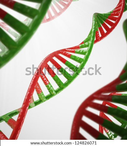 DNA Strands 3D model - stock photo