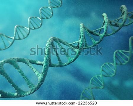 DNA strands illustration - stock photo