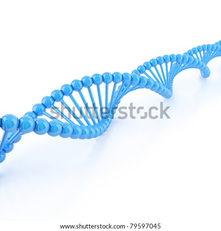 DNA strands on a white background - stock photo