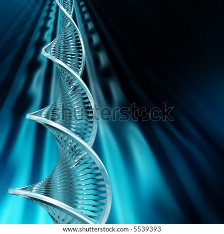 DNA strands on abstract background - stock photo