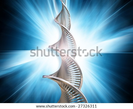DNA strands on abstract blur background - stock photo
