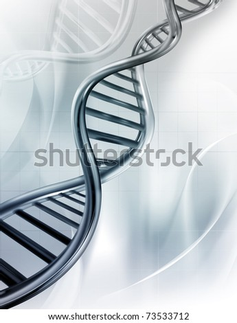 DNA strands on abstract medical background - stock photo