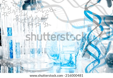 DNA structure and formula over biotechnological equipment - stock photo