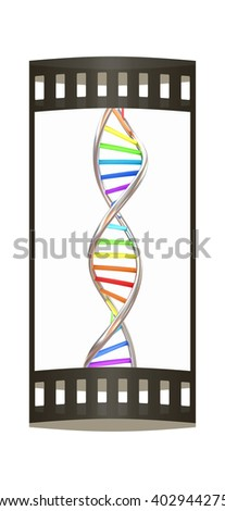 DNA structure model on white. The film strip. 3D illustration