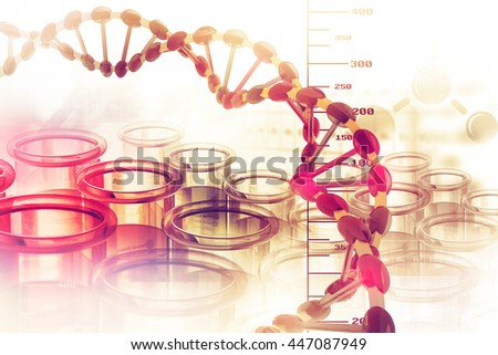 Dna structure on scientific background - stock photo