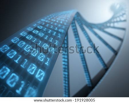 Dna with binary codes. Concept of science technology. - stock photo