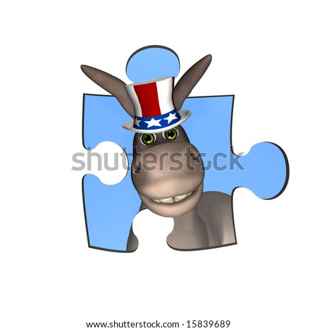 DNC Donkey looking out of a puzzle piece window. Represented by a Democrat Political Donkey - stock photo