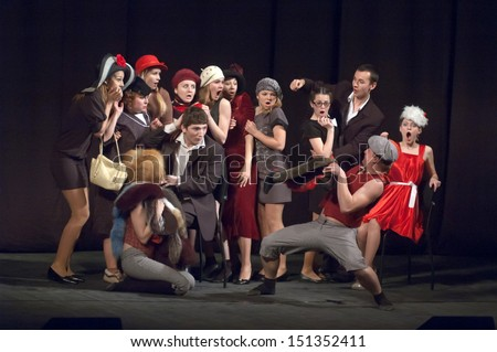 """DNEPROPETROVSK, UKRAINE - APR 24: Members of the Theatre """"Anthill"""" perform """"Pilferers are different you do know"""" at the State Russian Drama Theatre on April 24, 2013 in Dnepropetrovsk, Ukraine - stock photo"""