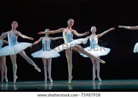 DNEPROPETROVSK, UKRAINE - APRIL 23: Swan Lake ballet performed by Dnepropetrovsk Opera and Ballet Theatre ballet on April 23, 2011 in Dnepropetrovsk, Ukraine.