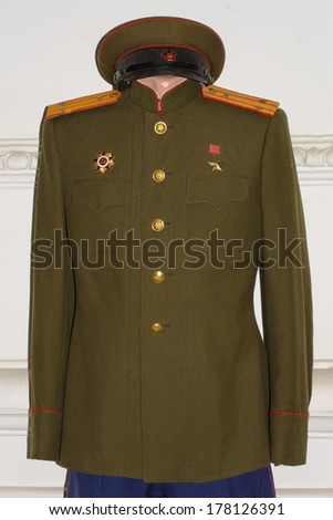 DNEPROPETROVSK, UKRAINE - FEB 10, 2013: Casual uniform of the Red Army colonel, 1943