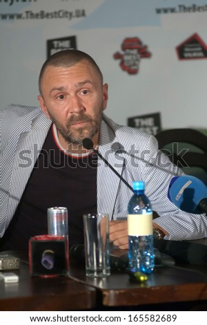 DNEPROPETROVSK, UKRAINE - JULY 13: The leader of the Russian rock band LENINGRAD Sergei Shnurov during a press conference at the Festival THE BEST CITY.UA on July 13, 2013 in Dnepropetrovsk, Ukraine - stock photo