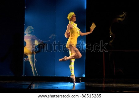 "DNEPROPETROVSK, UKRAINE - JUNE 9: Members of the Dnepropetrovsk State Opera and Ballet Theatre perform "" ZAKULISE "" on June 9, 2011 in Dnepropetrovsk, Ukraine."