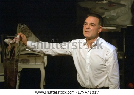 DNEPROPETROVSK, UKRAINE - MARCH 1: Famous actor Michael Melnik performs LETTER FROM AN UNKNOWN at the Municipal Theatre CREEK on Mach 1, 2014 in Dnepropetrovsk, Ukraine.