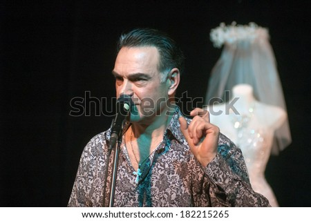 DNEPROPETROVSK, UKRAINE - MARCH 16: Famous actor Michael Melnik performs TABOO at the Municipal Theatre CREEK on Mach 16, 2014 in Dnepropetrovsk, Ukraine