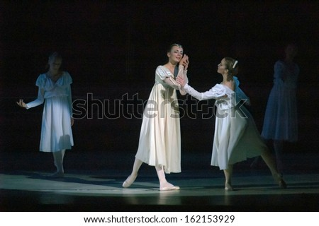 "DNEPROPETROVSK, UKRAINE - NOVEMBER 9: Members of the Dnepropetrovsk State Opera and Ballet Theatre perform ""Romeo and Juliet"" on November 9, 2013 in Dnepropetrovsk, Ukraine"