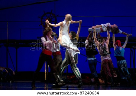"DNEPROPETROVSK, UKRAINE - OCTOBER 23: ""Le Corsaire"" ballet is performed by members of the Dnepropetrovsk Opera and Ballet Theatre ballet on October 23, 2011 in Dnepropetrovsk, Ukraine."