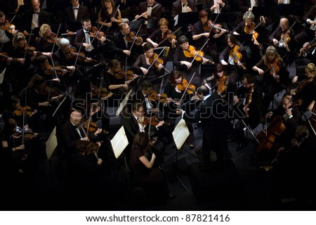 DNEPROPETROVSK, UKRAINE-OCTOBER 31: Moscow State Academic Symphony Orchestra - main conductor Pavel Kogan performed music of  Beethoven on October 31,2011 in Dnepropetrovsk, Ukraine - stock photo