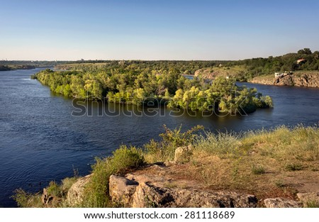 Dnieper River with the islands in Zaporozhye. Ukraine