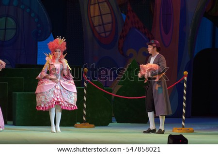DNIPRO, UKRAINE - JANUARY 3, 2017: Musical play Tale of the Prince and Princess performed by members of the Dnipro Opera and Ballet Theatre.