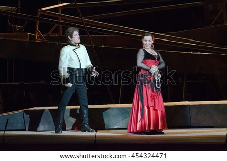 DNIPRO, UKRAINE - JUNE 23, 2016: Members of the Dnepropetrovsk State Opera and Ballet Theatre perform CARMEN