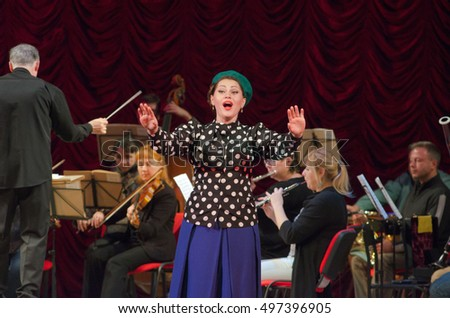 DNIPRO, UKRAINE - OCTOBER 11, 2016: Comic Opera Theatre director perfomed by members of the Dnipropetrovsk Opera and Ballet Theatre.