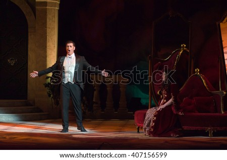 DNIPROPETROVSK, UKRAINE - APRIL 17, 2016: Traviata operaperformed by members of the Dnipropetrovsk Opera and Ballet Theatre. - stock photo