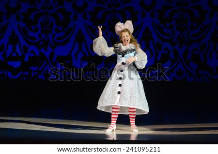 DNIPROPETROVSK, UKRAINE - DECEMBER 26: Famous singer Natalia Dekonenko performs DOLL OLYMPIA at the Dnipropetrovsk State Opera and Ballet Theatre on December 26, 2014 in Dnipropetrovsk, Ukraine - stock photo