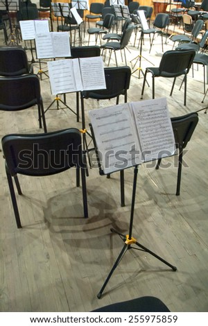 DNIPROPETROVSK, UKRAINE - FEBRUARY 23: Sheet music during the performance of the Youth Symphony Orchestra FESTIVAL  at the Conservatory on February 23, 2015 in Dnepropetrovsk, Ukraine - stock photo