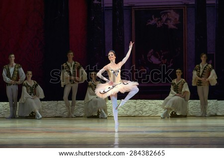 DNIPROPETROVSK, UKRAINE - MAY 30: Members of the Dnipropetrovsk State Opera and Ballet Theatre perform RAYMOND on May 30, 2015 in Dnipropetrovsk, Ukraine