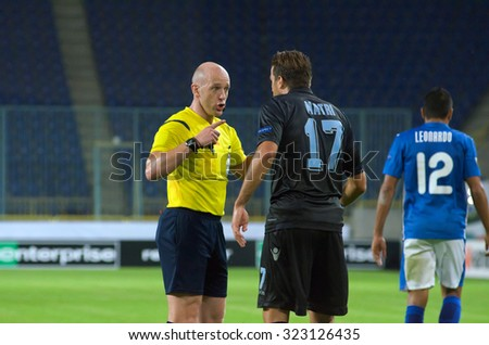 DNIPROPETROVSK, UKRAINE - SEPTEMBER 17, 2015: Arnold Hunter(L) referee at the